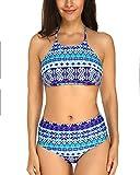 KissLace Damen Sexy Bikini Set Schulterfrei Neckholder Gepolstert Größe Größen Bademode Violett L=EU42