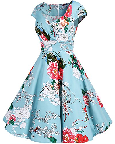 Bbonlinedress Robe femme de cocktail Vintage Rockabilly Robe plissée au genou sans manches col carré Rétro Green Flower