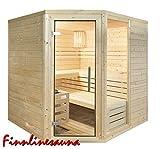 Finnline Massivholzsauna Family I 220 x 190 x 200 cm mit Eckeingang I 45 mm massiv I 5-Eck I Inkl. Saunaofen & Steuerung I Inkl. Lieferung I Saunakabine I Saunaanlage I Saunabau I Saunazubehör