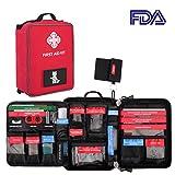 AIRSOFTPEAK Erste Hilfe Koffer - 96 Stücke Wasserdichte Molle Tasche Tragbare Medizinische für Home Outdoor Wandern Reise Sport, Rot