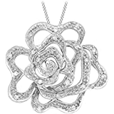 Carissima 9 ct White Gold 0.10 ct Diamond Rose Pendant on Chain Necklace of 46 cm/18 inch