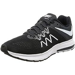 Nike WMNS Zoom Winflo 3, Chaussures de Running Femme, Noir (Black/White/Anthracite 001), 38.5 EU