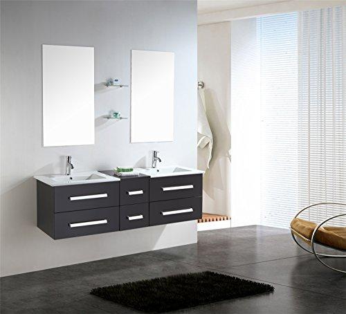 Mobile bagno arredo bagno completo 150 cm doppio lavabo rubinetti inclusi rome nuovo imballato mod rome