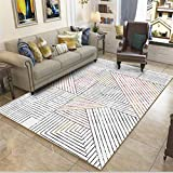 Zhyyhz Wohnzimmer Teppiche Moderne Multi-Size-Teppich Rutschfeste abstrakte gestreifte weiche Shaggy Teppich, Indoor Sch
