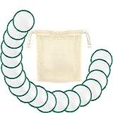 AKIMO 18 Pcs Coton Démaquillant Lavable Bio - Disque Tige en Coton Bambou Reutilisable avec un Sac de Lavage, Lingettes Démaquillante Nettoyantes, Production de l'Environnement
