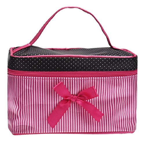 TOOGOO Sac cosmetiques a rayures monocouche Sac cosmetique monocouche avec un noeud papillon pour les femmes (rose vif)