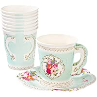 Talking Tables Truly Scrumptious Paper Teacup & Saucer Set - Blue, White - Pack of 12
