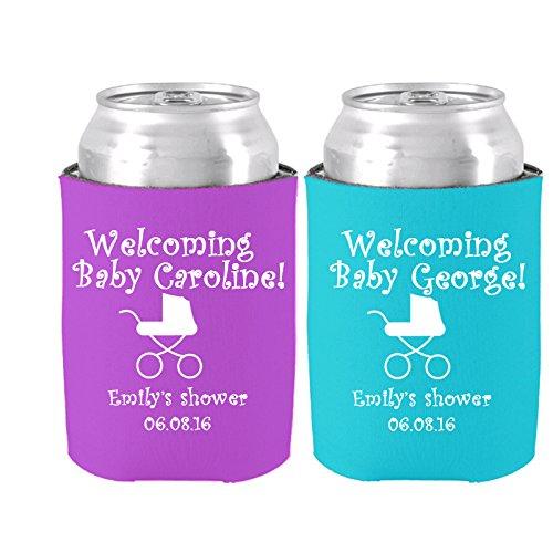 (Baby Dusche Party Favor Set von 2Personalisierte Baby Namen Neopren Kann Dosenkühler Bier Kühler Welcome to Baby Dusche Set von 2)