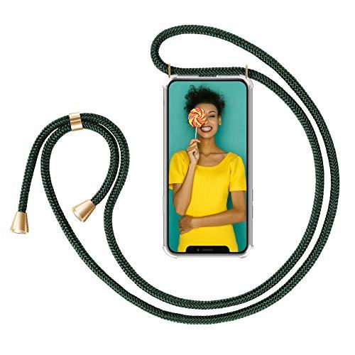 """Zhinkarts Handykette kompatibel mit Apple iPhone 11-6,1\"""" Display - Smartphone Necklace Hülle mit Band - Schnur mit Case zum umhängen in Grün"""