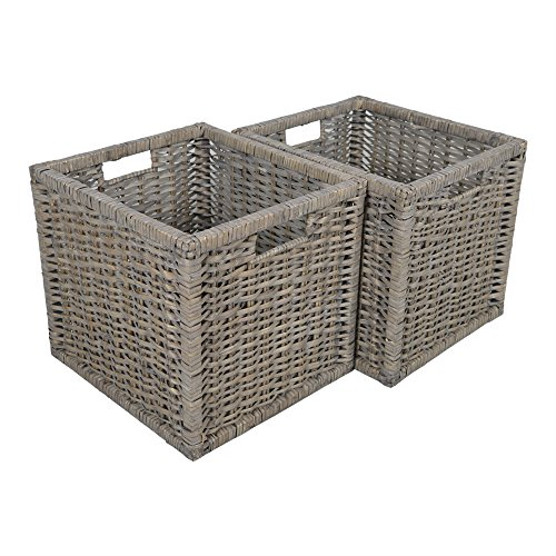 Set Of 2 Square Willow Storage Baskets In Grey Wicker / Gift Baskets