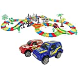 Bestie Toys Flexible & Bendable Glow In The Dark Twister Adventure Track Set With Led Lights Racing Car (257 Pcs)