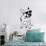 Tianpengyuanshuai Divertidas calcomanías de Bulldog francés Pegatinas de Vinilo para habitación de niños Perro con Gafas de Sol Lindo Papel Tapiz de Dormitorio 49x88cm