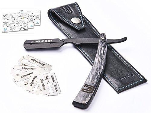 Nass Rasierhobel Rasieren (Präzises Premium-Rasiermesser + Einfache Anleitungen + Hochwertiges Echtleder-Etui + Scharfe Ersatzklingen | urwunder Beardo | Ideal zum Rasieren)