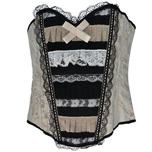 Zoelibat 53046542.753-Burlesque completamente petto corsetto con pizzo e passanti, colore: bianco/nero/beige