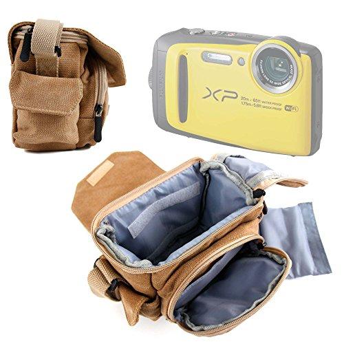 Duragadget Etui de Transport pour Fujifilm XP120 & X-A10, Polaroid Pop appareils Photo - Style Vintage Couleur Sable