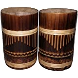 I-Fork™ Bamboo Drinking Mug From Original Bamboo Tree, Made In India, High Strength, Natural, Antique, Traditional Handicrafts, High Quality Finish, For Drinking Tea, Coffee, Green Tea, Latte, Beer - Set Of 2