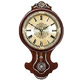 @Reloj de Pared Reloj de Pared Funciona con batería Sin tictac Número Romano Péndulo Decorativo Sala de Estar Decoración Cocina Vintage Europeo Retro Madera Silencio Cuarzo Reloj de Pared analógico