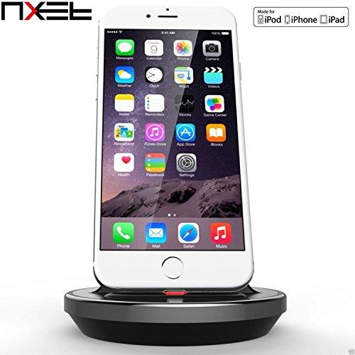 "Base Dock Lightning para iPhone, NXET® [Apple MFI certificado] [caso Compatible] Cargador de escritorio, cuna, de carga y de sincronización de datos soporte soporte de carga para iPhone se/5/5C/5S/6/6S/7/Plus, iPad 4/Mini 4/Air 2/Pro 9.7"", 12.9"""