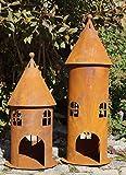 Edelrost Windlicht Turm groß 58 cm Gartendekoration Leuchtturm Rund Fenster Beleuchten - Turm groß