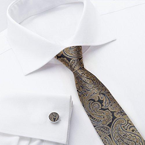 YA-BC-B.01 Hochzeitsfest-Paisley-Jacquardwebstuhl-Silk Krawatten für Verbindung Durch Y & G YABB0010-Blau, Gold