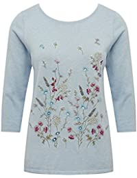 M&Co Ladies Three Quarter Length Sleeve Round Neck Casual Floral Embroidered Front Jumper