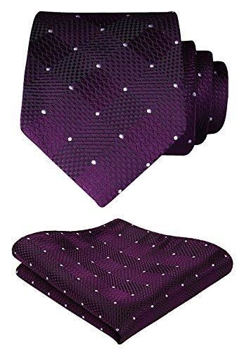 Hisdern Herren Krawatte Taschentuch Check Krawatte & Einstecktuch Set Lila und Weiß -