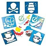 Piratenschablonen aus Plastik für Kinder zum Basteln und Verzieren von Karten und Collagen (6 Stück)
