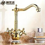 NewBorn Faucet Wasserhähne Warmes und Kaltes Wasser große Qualität der Goldene Drache Kopf Voll Kupfer Cold-Hot Holeclassic Blue-Tiled Tippen