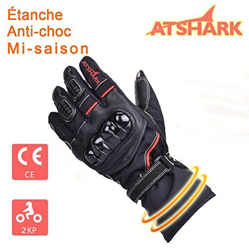 Atshark Motorradhandschuhe Herren, Motorrad Handschuhe Wasserdicht Touchscreen Handschuhe 2KP Warm Winterhandschuhe Kälteschutz Rutschfest Fahrradhandschuhe Herren Damen für Skifahren Wintersport L