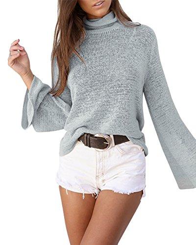 Femmes Sexy manches longues Bat Shirt Backless laçage Cross Knit Shirt Top Blouse Gris