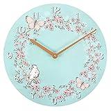 Shabby Chic hellblau Schmetterling/Vogel Design Uhr