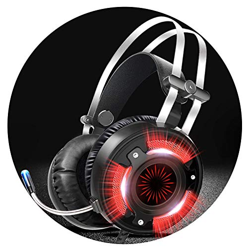 Gaming-Kopfhörer für Computer und Spiele, kabelgebunden, LED, HD, Bass, USB, Gaming Headset für PS4, Xbox One mit Mikrofon, Schwarz