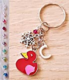 Handmade Personalised Initial Red Enamel Duck Keyring Keychain with Genuine Crystal