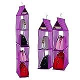 Staccabile 6scomparto organizer borsa organizer per armadio trasparente borsa bag Collection sistema salvaspazio armadi, supporto di immagazzinaggio organizzatori per soggiorno camera da letto Home use Purple