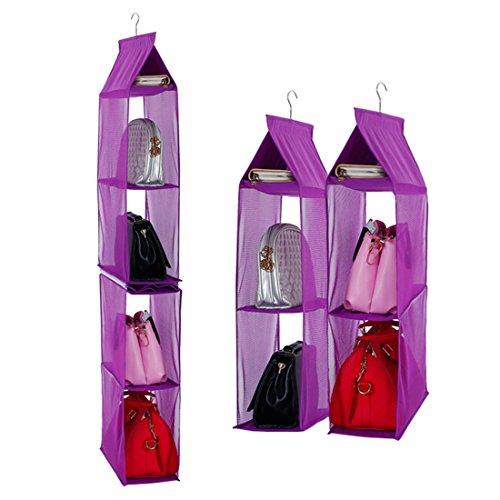 Aufbewahrungssystem, abnehmbar, 6Fächer zur besseren Organisation, geeignet für Taschen, klar, zum Aufhängen im Kleiderschrank, Platz sparend, für Wohnzimmer, Schlafzimmer, zu Hause violett