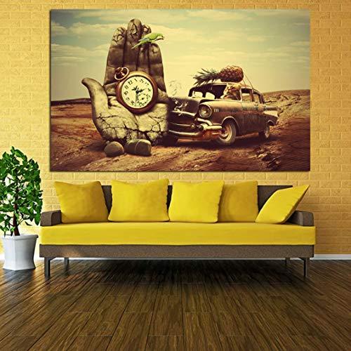 Smhlg Leinwand Malerei Wanddekoration Klassische Kunst Salvador Dali Hand, Uhr, Auto, Ananas, Papagei Drucke Poster Wandkunst Für Wohnzimmer Schlafzimmer 60x90cm