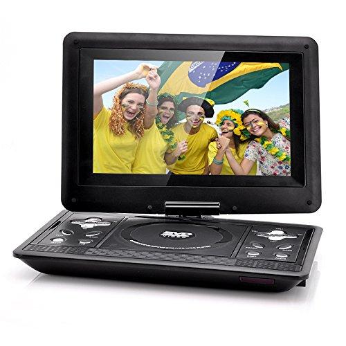 Lecteur DVD Portable, FENGJIDA Portable Lecteur DVD, Pile rechargeable de 3 heures, Ecran rotation, Lire Carte SD/ USB, Lire AVI, RMVB, MP3 et JPEG (10 pouces, Noir-131)