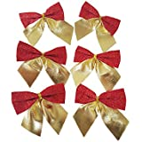 Decorative Buckets:christmas Decorations : CHRISTMAS BOWS : BIG GOLDEN RED BOWS |PACK OF 6| Christmas Tree Decorations |christmas Tree Hanging| Christmas Décor | Christmas Tree Ornaments