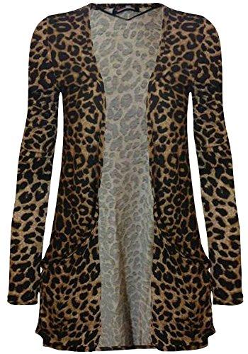 Cardigan da donna a maniche lunghe, con tasca, taglie: 36-50 Leopard print