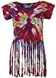 Guru-Shop Batik Hippie T-Shirt mit Fransen, Damen, Pink, Synthetisch, Size:38, Tops, T-Shirts, Shirts Alternative Bekleidung