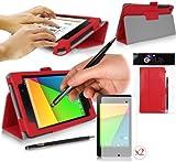 Nexus 7 ii Tablet Case / Schutzhülle in ROT KUNSTLEDER-STIL (Leather Effect) G-HUB PropUp Stand Hülle / Fall / Tasche / Folio für ASUS Google Nexus 7 ii (Version 2 - 2013), mit integrierter Standfunktion und magnetischen Schlaf Sensor. Jetzt mit BONUS: G-HUB ProPen Stylus und 2 x Displayschutzfolien