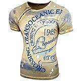 Rusty Neal Herren Rundhals T-Shirt Kurzarm Hemd Slim Fit Design Fashion 15045, Farbe:Khaki;Größe:XL
