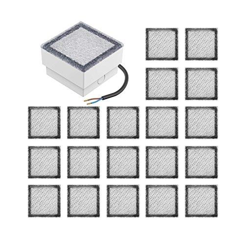 parlat LED Pflasterstein Wegbeleuchtung CUS 10x10cm 230V warm-weiß, 20 STK.