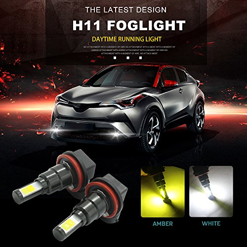 Ampoules LED H11 Switchback blanc / ambre, H8 H9 Super Bright lampe halogène Daylight Running Light DRL avec ventilateurs (pack de 2)