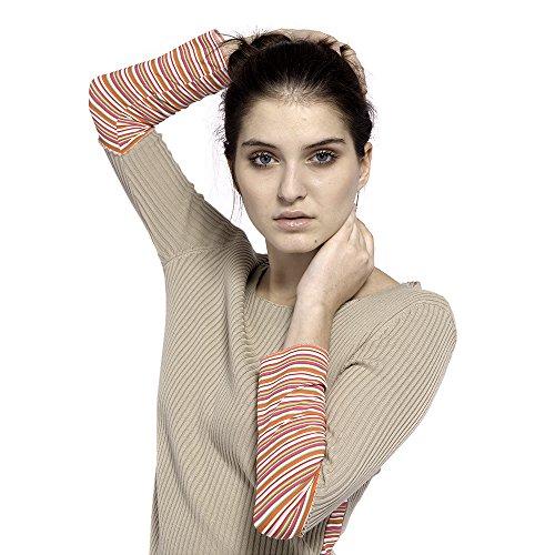 magliefilanti; Gerippter Pullover; lange Ärmeln; 100% ägyptische Baumwolle Gr. Small, Beige - Beige -