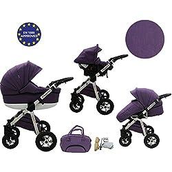 Quero, 3en 1sistema de viaje con material de lino, asiento de coche, cochecito para cochecito de bebé y accesorios (nº 4)