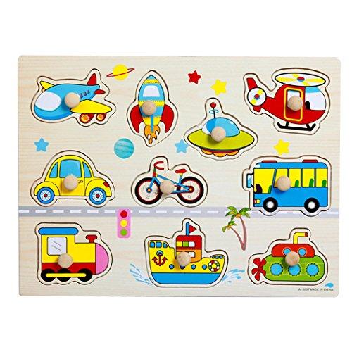 SIPLIV Puzzles à chevilles en bois Puzzle pour les enfants de 2 à 5 ans, apprentissage à domicile Développement de l'éducation préscolaire, jouets et jeux, transport.