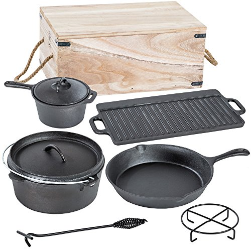 tectaker-lot-de-7-pieces-poele-casserole-en-fonte