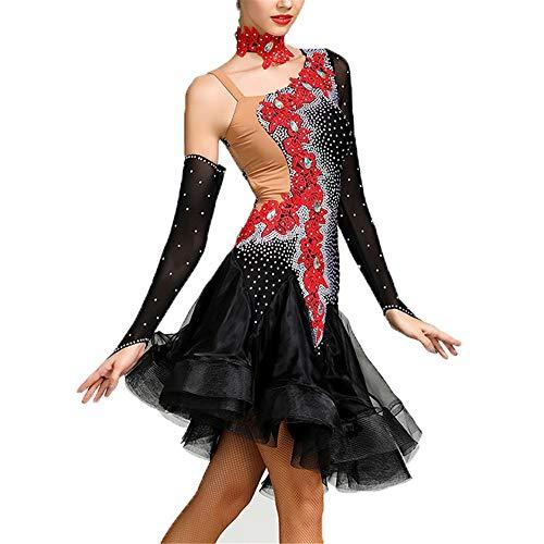 Jxth-cl Frauentanzkleid Frauen rückenfreie Rüschen Latin Dance Kleid Floral Diamond asymmetrische Gesellschaftstanz Kostüm Bühnenauftritt Wettbewerb tanzen lyrische Kleid Ballsaal Kostüm Bühnenrock (Lyrische Kostüm Für Den Wettbewerb)