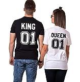 Parejas Camiseta King Queen T-Shirt 100% Algodón Shirts Impresión 01 2 Piezas de Manga Corta...
